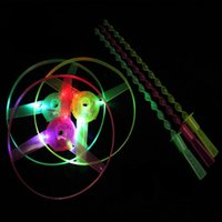 Wholesale Boomerang Spinning Toys - Hand Pushing Spinning LED Lighting Colorful Frisbees Boomerangs Flying Saucer Helicopters UFO Outdoor Toys for Children Gift