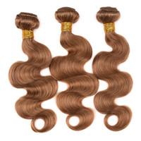 Wholesale Golden Blonde Hair Extensions - 27# Golden blonde Hair Body Wave Brazilian Hair Extensions Peruvian Indian Virgin Hair Body Hair 3pcs bundles Unprocessed Human Hair