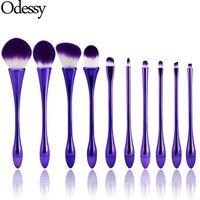 Wholesale plastic goblets - Odessy 10pcs Goblet Shaped Purple Makeup Brushes Set with Powder Foundation Concealer Contour Blending Eyeshadow Lip Make Up Brush Kit