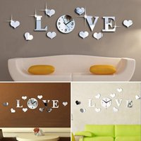 Wholesale Mirror Crystal Clock - Love Wall Clock Fashion Quartz DIY 3D Crystal Mirror Living Room Home Modern Decoration