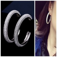 Wholesale Night Earrings - Europe and the United States retro sexy temperament domineering zircon large circle night club personality exaggerated large earrings earrin