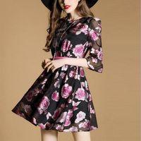 Wholesale Type Ladies Dress - Spring new quality lady dress 3 4 Sleeve printed milk silk imitation Series of dress suit catwalk style Collect waist type chiffon dress