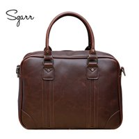 Vente en gros- SGARR Brand Crazy Horse PU Leather Business Man Porte-documents 14inch Laptop Bag Large Capacity Casual Men's Leather Office Bag
