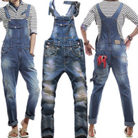 Wholesale Mens Bib Overalls Jeans - Wholesale Fashion ripped jeans for men high quality mens skinny jumpsuit bib pants mens overalls free shipping