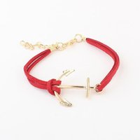 leder spitzen armbänder großhandel-Charm Bracelets Lederarmband Antik Anchor Bangles Bracelets Doppelschichten Handmade Modeschmuck Accessoire Kette Armband Brace Spitze