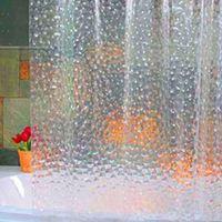 Wholesale Shower Curtains Clear - Wholesale- Hot Plastic EVA 3D Shower Curtain Transparent Clear Water Cube Bathroom Curtain