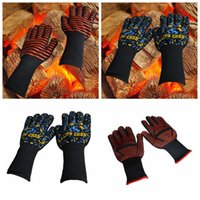 Wholesale Silicone Gloves Cooking - Heat Resistant Silicone Kitchen Microwave Oven Glove Cooking Grilling Barbecue Mitts Glove Grilling Cooking Gloves LJJO2723