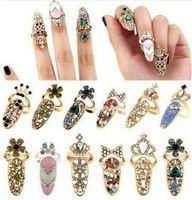 armadura de dedo para mulheres venda por atacado-Lindo Cristal Coroa dedo conjunta anéis de presente da jóia Moda strass Diamantes coroa armadura Unhas Anel Banda Mulheres Acessórios hot