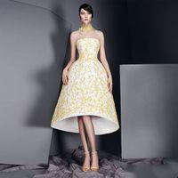 Wholesale Tuxedo Backless Dress - Simple Strapless Satin Evening Dress Vigorous Yellow Applique Little Gold Tuxedo Homecoming Dresses Knee Length Prom Gown