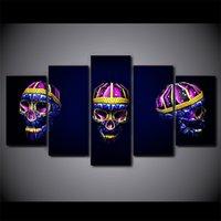ingrosso telai di pittura ad olio brillante-5 pezzi / set incorniciato HD Stampato Skull Art Bright Wall Art Picture Canvas Poster stampa grandi dipinti ad olio su tela