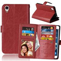 billetera compacta sony z3 al por mayor-9 Ranura para tarjeta Dinero Marco de fotos Soporte Funda billetera para Sony Xperia X X Rendimiento XA XZ X COMPACTO Z3 Z4 Z5 E5 M5 50PCS / LOT