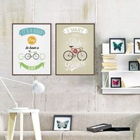 vintage art deco malerei großhandel-Vintage Retro Fahrrad Motivations Typografie Zitate A4 Große Kunstdruck Poster Hipster Wandbild Leinwand Malerei Home Deco