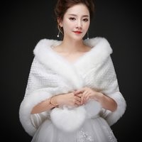 Wholesale Real Hollywood - Real photos Wholesale Luxurious In Stock Bridal Wraps Fake Faux Fur Hollywood Glamour Wedding Fashion Cover up Cape Stole Coat Shrug Shawl