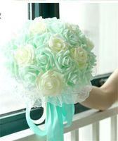 blauer lila blumenstrauß großhandel-22 Blumen Braut Hochzeit Bouquet Minze Blau lila Champagner Hochzeit Dekoration Künstliche Brautjungfer Blumenspitze Braut Holding Flowe