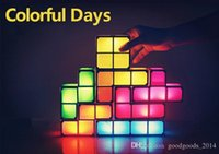 puzzle mural achat en gros de-Fashion Tetris DIY Constructible Retro Style de jeu empilable LED Night Light Puzzle Light Applique murale Romantique Light b548