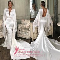 Wholesale Wedding Gowns For Muslims - Chic White Mermaid Wedding Dresses 2016 Arabic Deep V-Neck Long Sleeve Heavily Embellishment Court Train for Wedding Party Bridal Gowns