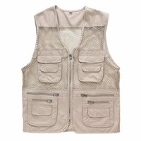 Wholesale Men Travel Vest - Summer Men's Mesh Vests Multi-pockets Director Reporter Vests Quick Dry Sleeveless Jacket Photography Cameraman Travels Clothing