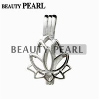 Wholesale Sterling Silver Small Pendants - 5 Pieces Lotus Flower Pendant Small Charm 925 Sterling Silver Gift Love Wishing Pearl Lotus Cage