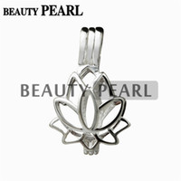 Wholesale 925 sterling small pendant for sale - Group buy Lotus Flower Pendant Small Charm Sterling Silver Gift Love Wishing Pearl Lotus Cage Pieces
