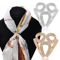 Wholesale silk scarf clips - 2016 Rhinestone Garland Hoop Twine Brooch Silk Scarf Clip Buckle Holder Jewelry Gift 6XLM 7EBK 88DI