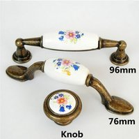 Wholesale Flower Drawer Handles - Rustico rural red blue flower ceramic drawer tv table knobs pulls 76mm 97mm bronze kitchen cabinet dresser door handles knobs 3""