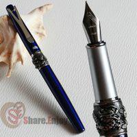 Wholesale Noblest Jinhao Fountain Pen - Wholesale- NOBLE JINHAO Y2 DEEP BLUE AND SIER 18KGP MEDIUM NIB FOUNTAIN PEN DRAGON FREE SHIPPING