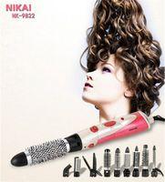 Wholesale Hair Styling Brush Rotating - Wholesale- 9 in 1 Hair Styler Brush dryer brand Comb Rotating Brush Hair Comb Hot air Brush Hairdryer Pro Styling Tools hair straightener
