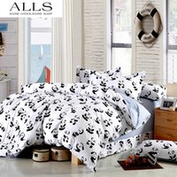 Wholesale King Size Panda Bedding - Wholesale-Black and white bedding set Panda 100% cotton bed sheet bedspread Duvet cover set Twin Queen King size for single double bed