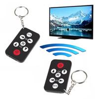 Wholesale mini tv remote control keychain - Black Mini Universal Infrared IR TV Remote Control Controller 7 Keys Button Keychain Key Ring Wireless Smart Remote Controller