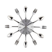 Wholesale-New 2015 Montre Horloge Murale Design Moderne Argent Kitchen Cutlery Numérique Wall Horloges Spoon Fourche Home Decor Art Room Décoratifs