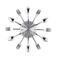 Wholesale Clock Fork - Wholesale-New 2015 Watch Wall Clock Modern Design Silver Kitchen Cutlery Digital Wall Clocks Spoon Fork Home Decor Art Room Decorative