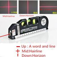 Wholesale Wholesale Measuring Tapes - Multipurpose Level Laser Horizon Vertical Measure Tape Aligner Bubbles Ruler multifunction laser level leveler tool Laser 03