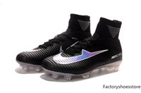 Wholesale China Soccer Cleats - Top NEW100% Original Mercurial Superfly V Red Soccer shoes Wholasale football Shoes ACC Soccer cleats mens sports shoes china free shiping