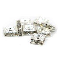 ingrosso branello quadrato di cristallo del rhinestone-Fornitura Crystal Clear Rhinestone Quadrato di rame perline Distanziatori Gioielli Risultati Colore argento, 100 pezzi / pacco, IA03-01