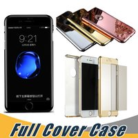 Wholesale Hybrid Leather Case Iphone - 3 in 1 Electroplated Mirror 360 Degree Case With Tempered Glass Hybrid Slim Shockproof Back Cases Cover For iPhone 6 6S 7 Plus