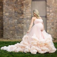 Wholesale sweetheart pregnant wedding dress - 2017 Pink Maternity Long Cloud Strapless Pregnant Wedding Dresses Luxury Long Train Plus Size Bridal Gowns Western Country Wedding Dresses