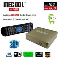 Wholesale Top 3d Media Player - Android 6.0 Smart TV Box Amlogic S905X Quad-Core 1G 8G MECOOL HM8 Mini PC Wifi KD 17.0 4K H.265 OTG Media Player 3D Home Movie Set Top Box