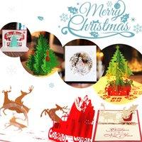 paquete de tarjetas de regalo al por mayor-Vintage 3d Pop Up Tarjeta de felicitación Vintage Feliz Navidad Tarjetas Regalos Árbol Postales Pack de 6sd -6