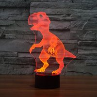 3D Lamp Dinosaur Baby Shape Boys Best Bithday Gift Table en acrylique Night light Furniture Décoratifs colorés 7 couleurs change ménage Desk Acc