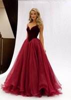 Wholesale Cheap Sweetheart Corset Dress - 2017 Burgundy Prom Dresses Formal Evening Party Pageant Gowns With Ball Gown Sweet-heart Corset Back Long Organza Velvet Cheap