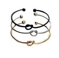 Wholesale Cuff Link Original - Fashion Original Design Simple Copper Casting Knot Love Bracelet Open Cuff Bangle Gift For Women