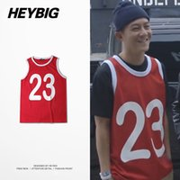 Wholesale Tank Top Printing China - Wholesale- Edison 23 Red Mesh Vest Heybig Street Fashion Hip-Hop European And American Breathable Tank tops China size