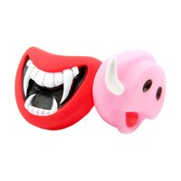 Wholesale Dogs Jokes - Wholesale-Halloween Dog Toys Funny Soft Plastic Squeak Devil's Lip Sound Playing Chewing Gags &practical Jokes Toys