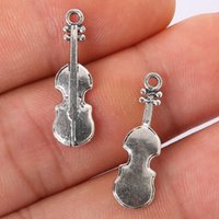Wholesale Violins Charms - Wholesale- Penney 13pcs 23*17mm Antique Silver Alloy Violin Charms Pendant Jewelry Making Necklace Bracelet Jewelry Findings