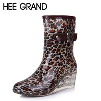 Wholesale Calf Boots Wedge Heel Buckles - Wholesale-HEE GRAND Women Rubber Boots Transparent Wedges Heel Woman Rainboots Fashion Rainning Shoes For Ladies XWX4371