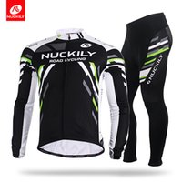 Wholesale Men S Wear China - Nuckily Anti-Bacterial cycling square block bicycle wear China wholesale quicki drying long shirt and tight set MC005MD005