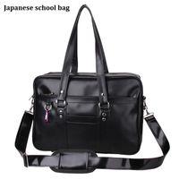 Wholesale Korean Messenger Totes - Wholesale- Japanese School Handbags High College Students Uniform Bag Unisex Shoulder Bags Messenger Bags PU Leather For Women Men Kabelky