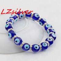 bilezikler mavi gözler toptan satış-MIC 10 adet Bling Takı Göz Boncuk 10mm mavi Streç Kristal Bilezik 7.5in