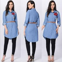 Wholesale Denim Womens Shirt - Ladies Denim Chambray Smocked Embroidered Tunic Loose Lapel Neck Tops Womens Button Fly Belt Long Sleeve T-Shirt Shirt Tee