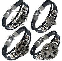 Wholesale Spider Braid - Vintage Punk Spider Stud Bracelet Leather Braided Charm Handcuff Men Bangles Handmade Stuff Bracelet Male Jewelry Accessories For Men AA204